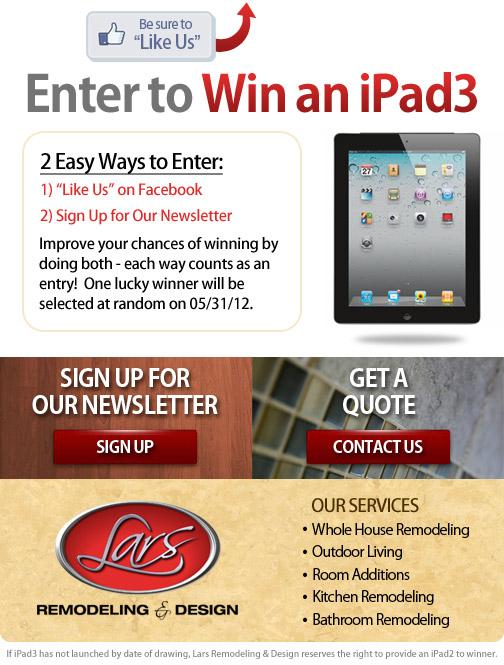 Lars Remodeling & Design iPad3 Giveaway