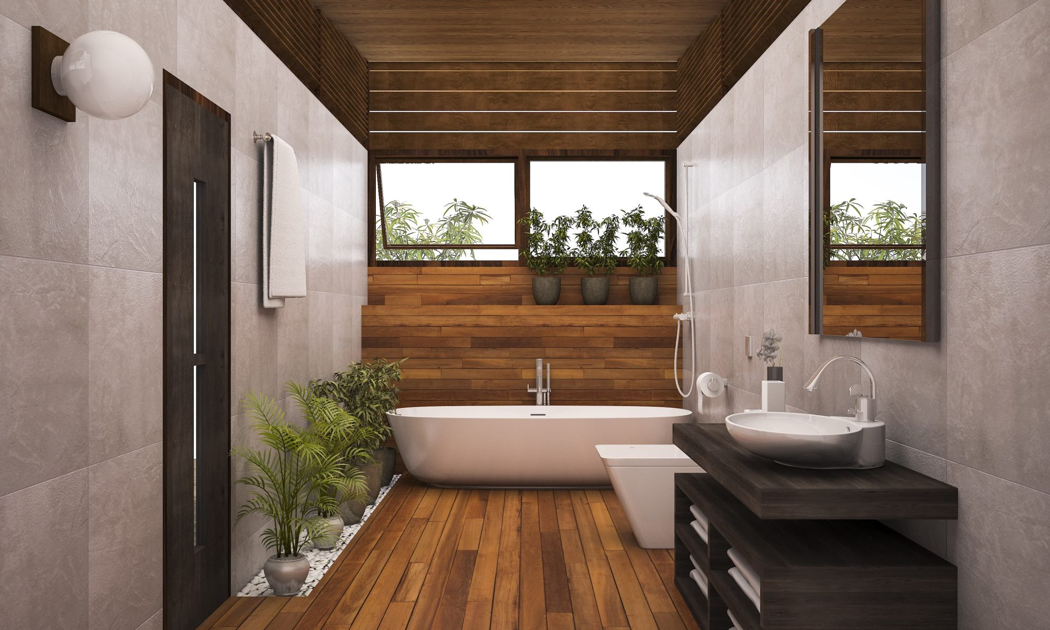 How do I incorporate wood elements into my bathroom